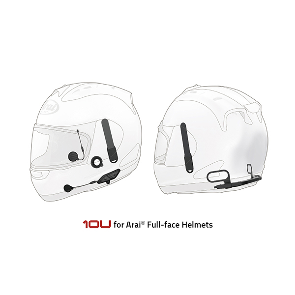 Sena 10U Motorcycle Bluetooth Communication System with Handle Bar Remote for Arai Full-Face Helmets