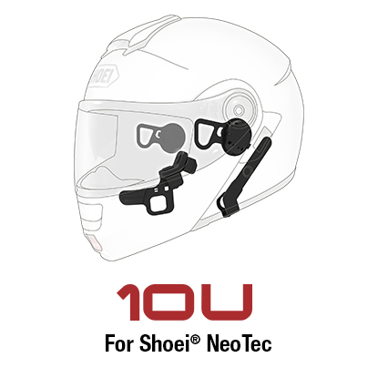 Sena 10U Motorcycle Bluetooth Communication System with Handle Bar Remote for Shoei Neotec